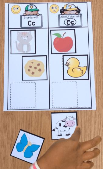 alphabet activities letter sounds sorting