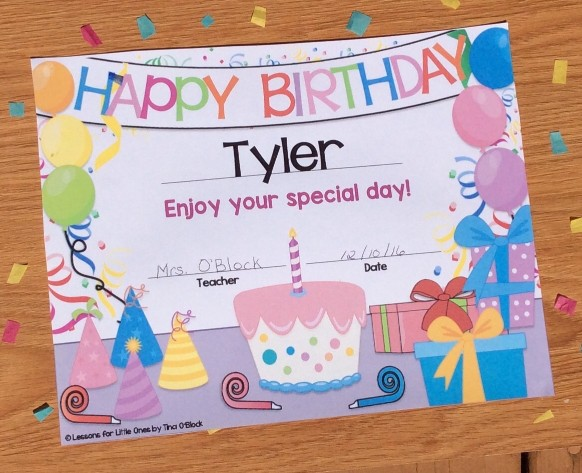 birthday certificate editable