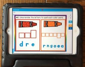 color words digital Boom Cards