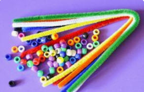 color sorting pony beads pipe cleaners