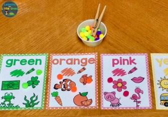 color sorting posters pom poms