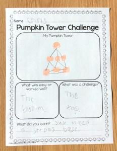 pumpkin tower STEM challenge page
