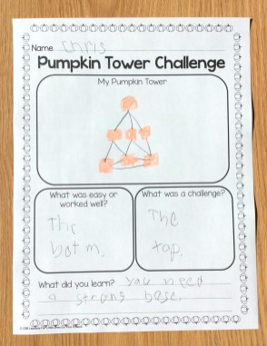 pumpkin tower STEM challenge page