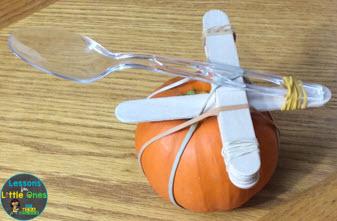 pumpkin catapult on a pumpkin
