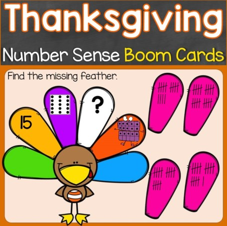 Thanksgiving number sense to 20 Boom Cards