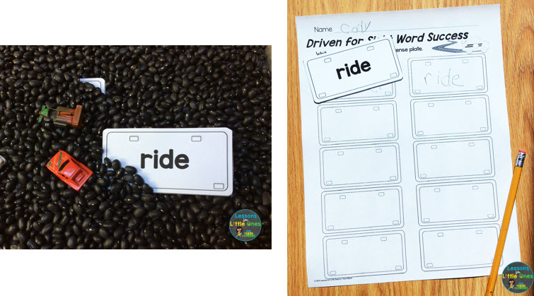 racing sensory bin sight word activity