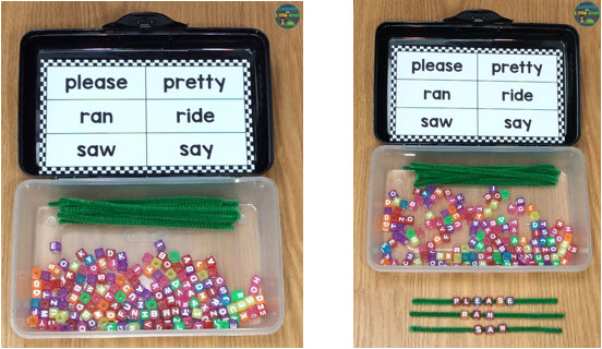 sight word practice pipe cleaners, letter beads