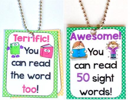 sight words brag tags