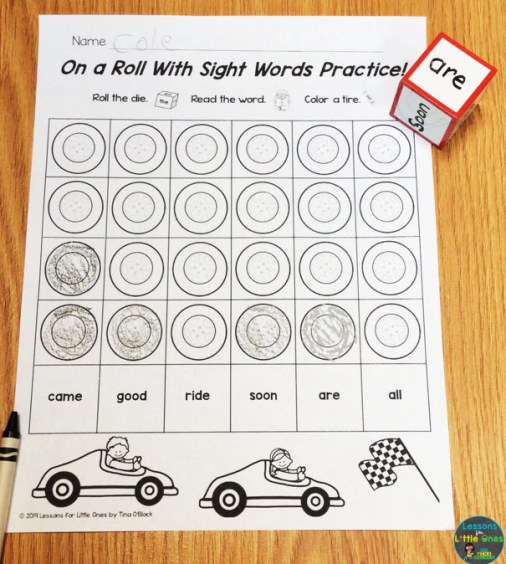 sight words dice game