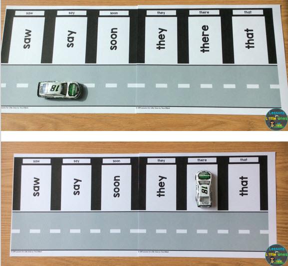 sight words practice activity parking garage