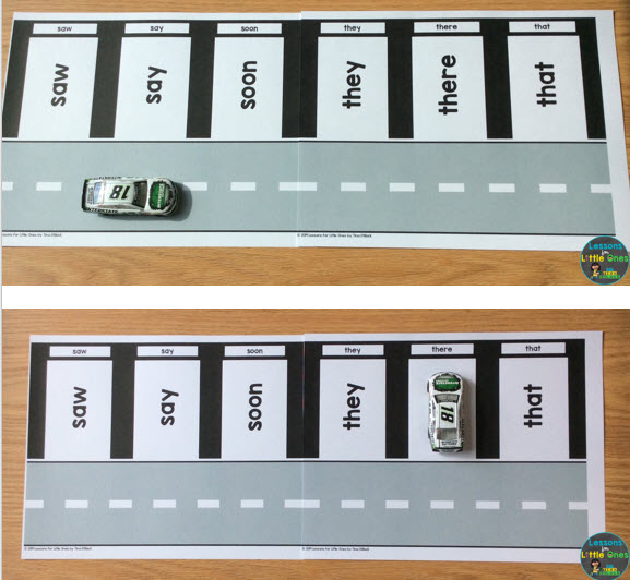 sight words practice activity parking garage