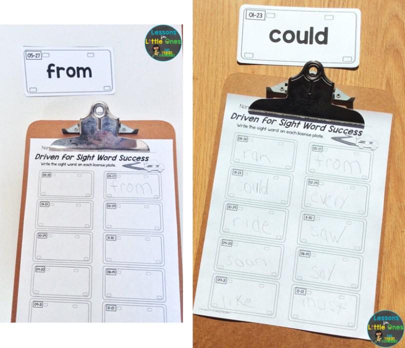 sight words practice around the room