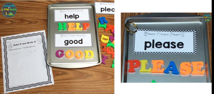 sight words practice magnetic letters center