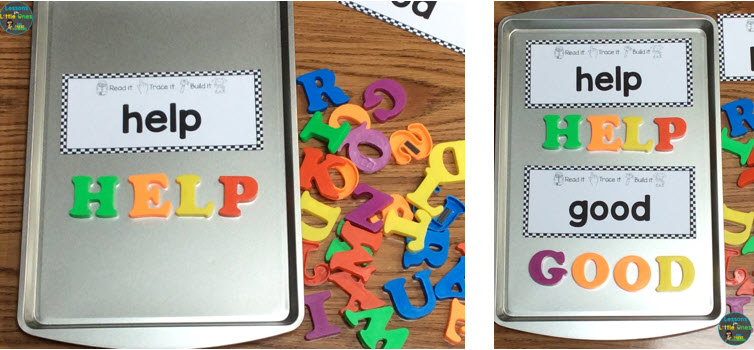sight words practice with magnetic letters