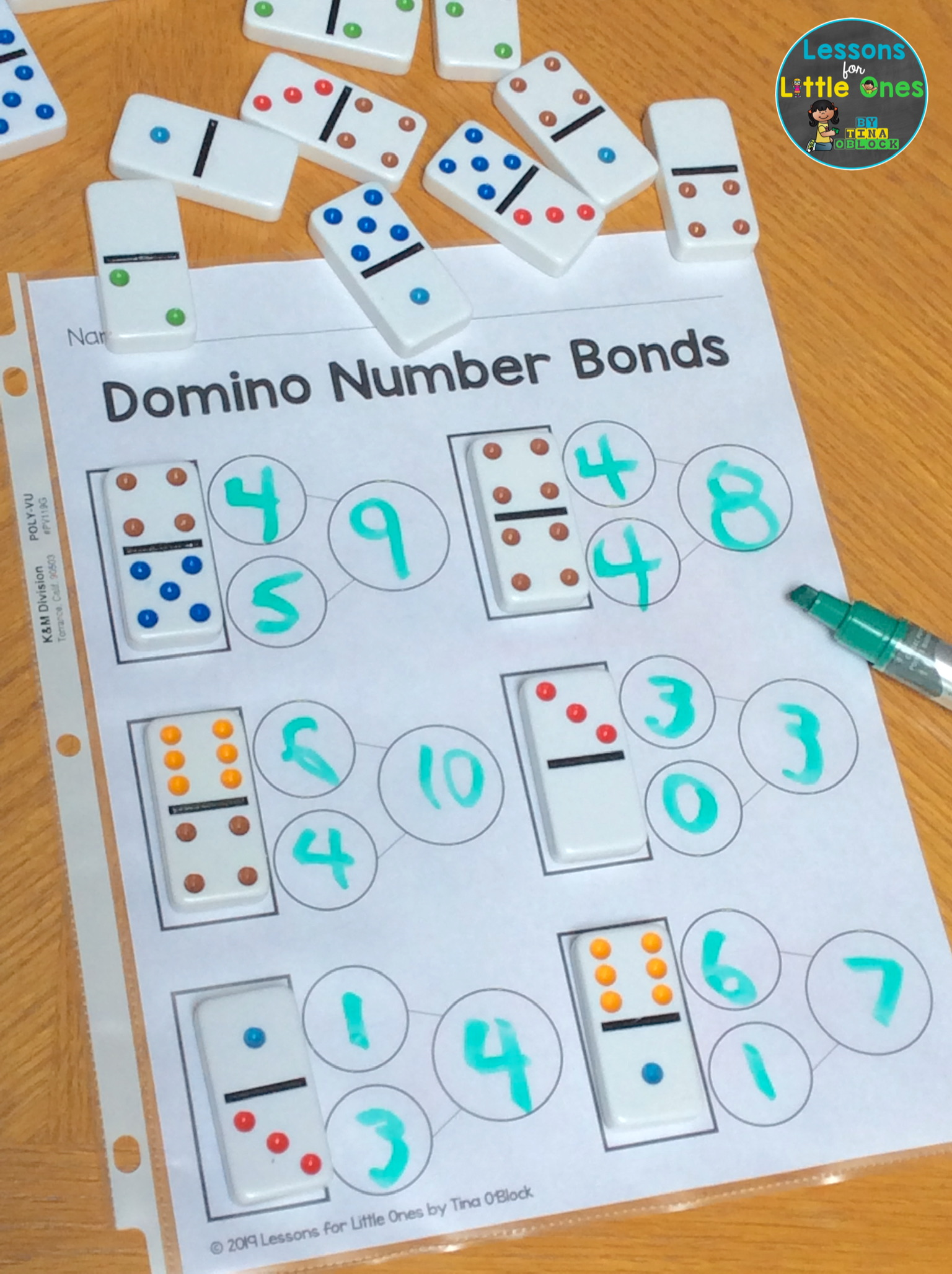 Domino Number Bonds Activity \u0026 Freebie - Lessons for Little Ones by Tina  O'Block [ 2056 x 1536 Pixel ]