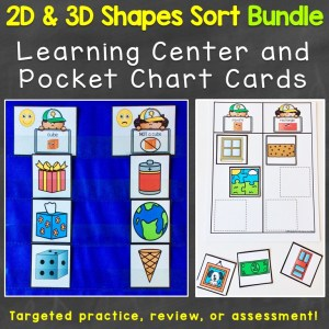 2D shapes 3D shapes sort print bundle