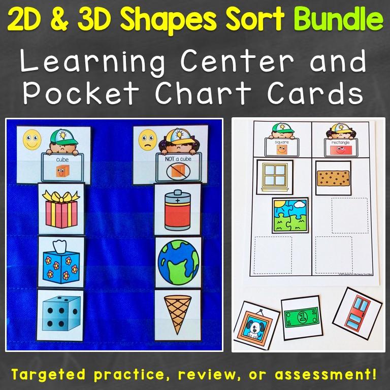 2D shapes 3D shapes sort print bundle