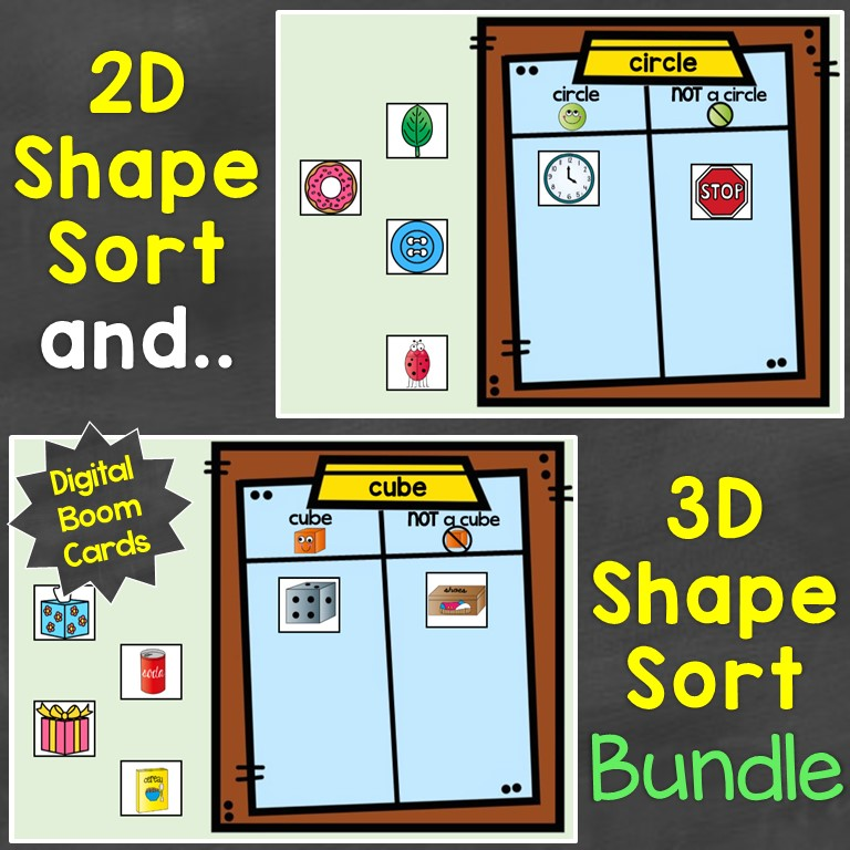 2D shapes 3D shapes sorting bundle digital Boom Cards