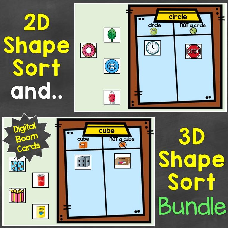 2D shapes 3D shapes sorting bundle digital Boom Cards