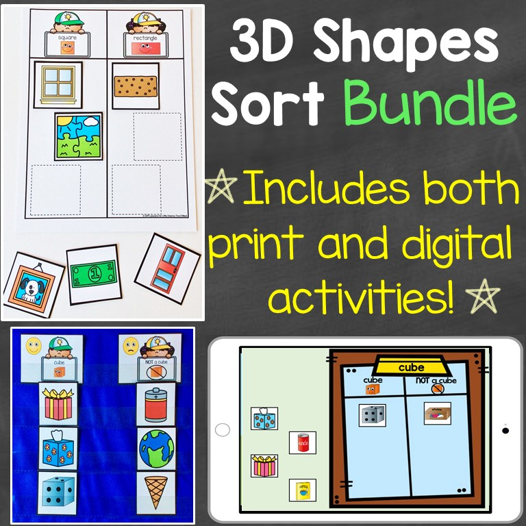 3D shapes sorting bundle digital print