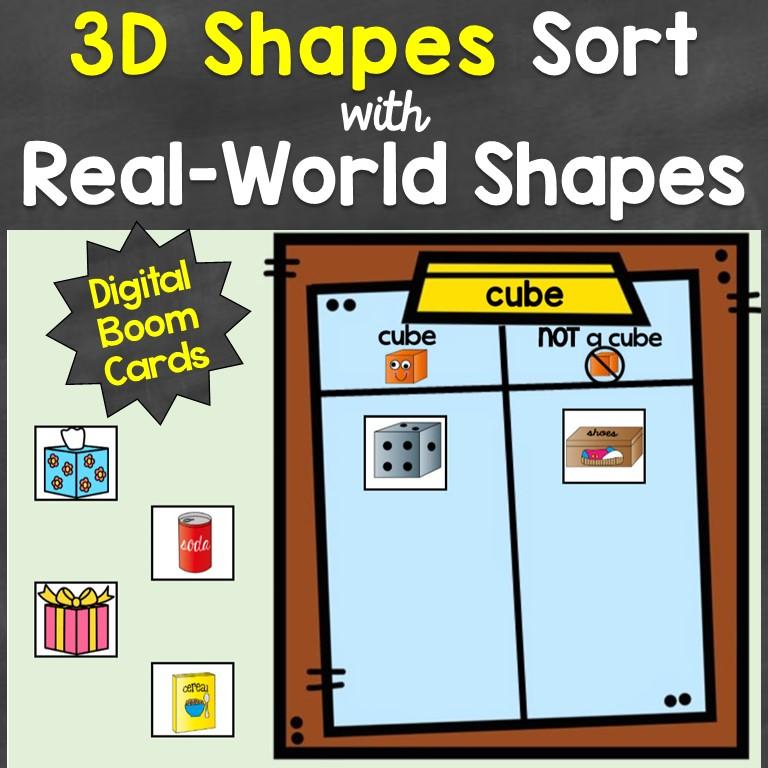 3D shapes sorting digital Boom Cards