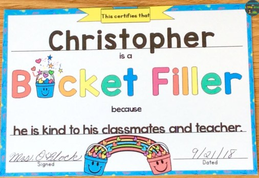 bucket filler reward