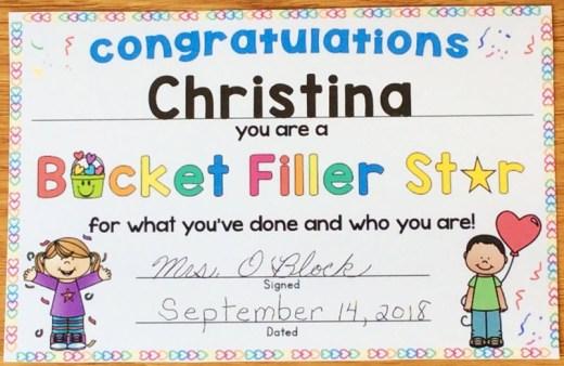 bucket filler star award
