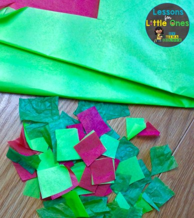 apple craft suncatcher tissue paper squares