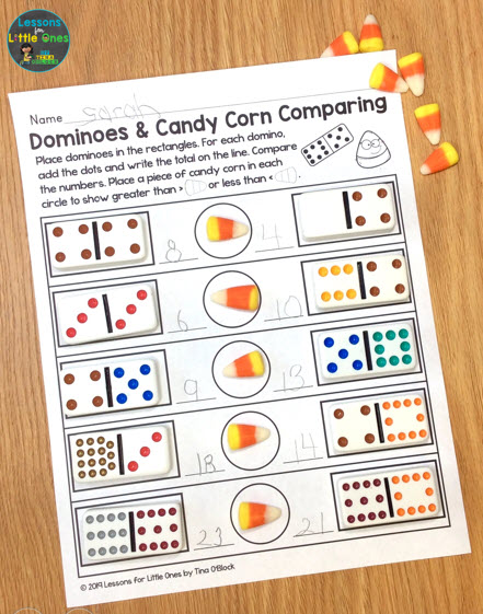 candy corn & dominoes greater than less than activity
