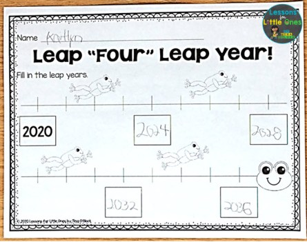 leap year math page timeline