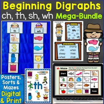 Beginning Digraphs ch, th, sh, wh Mega-Bundle