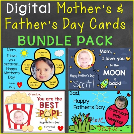 Mother's Day Father's Day Cards for Distance Learning Bundle