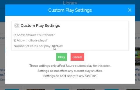 Boom Cards Custom Play Settings
