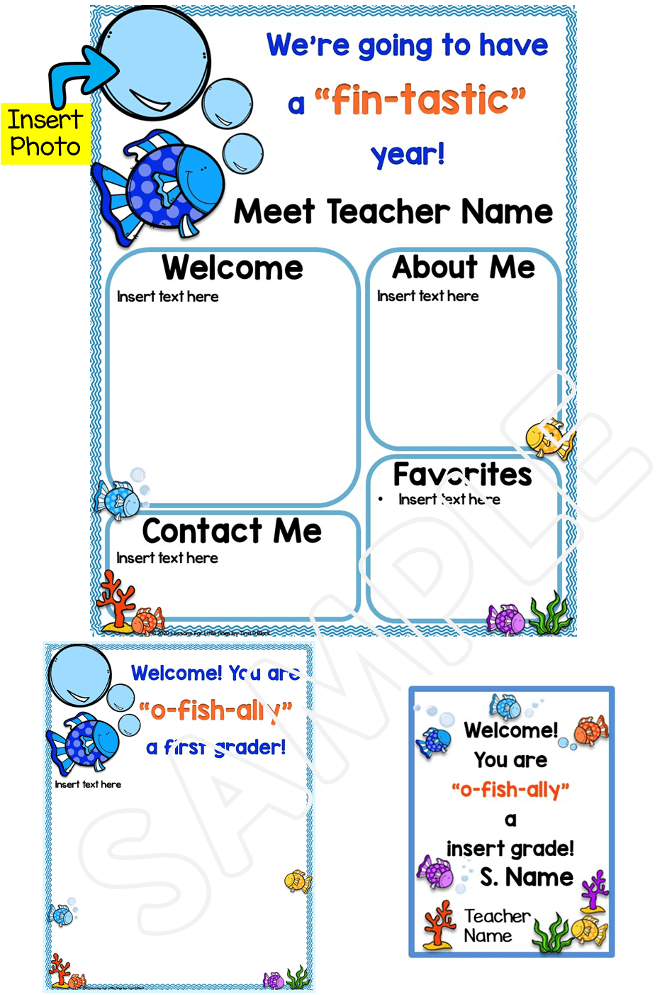 Meet the Teacher Editable Template Ocean Theme