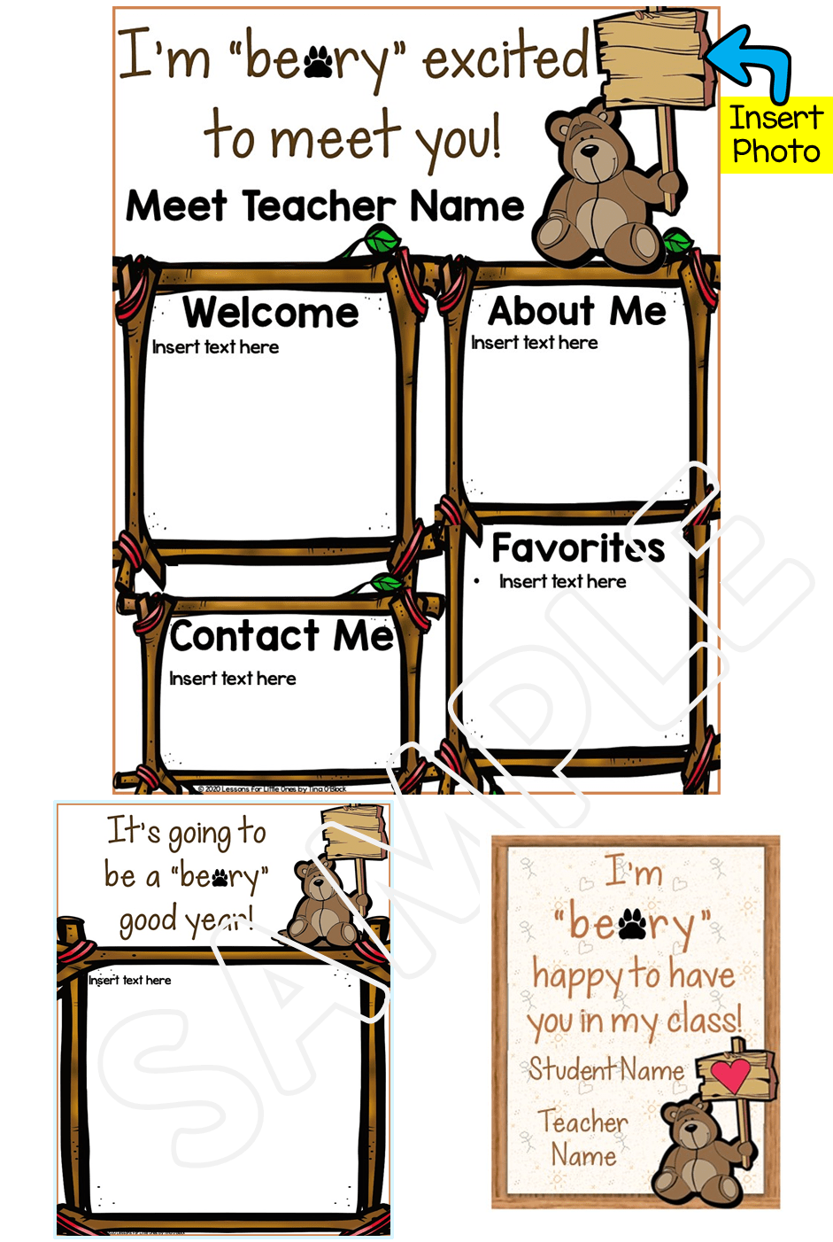 Meet the Teacher Editable Templates Bear Theme