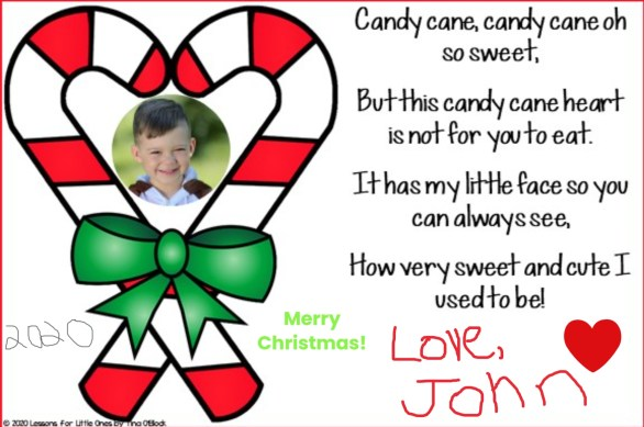 candy cane poem Christmas card for parents