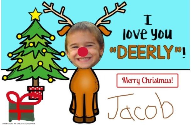 Christmas card student photo as Rudolph