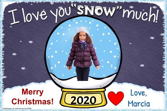 Christmas card from student to parent snow globe