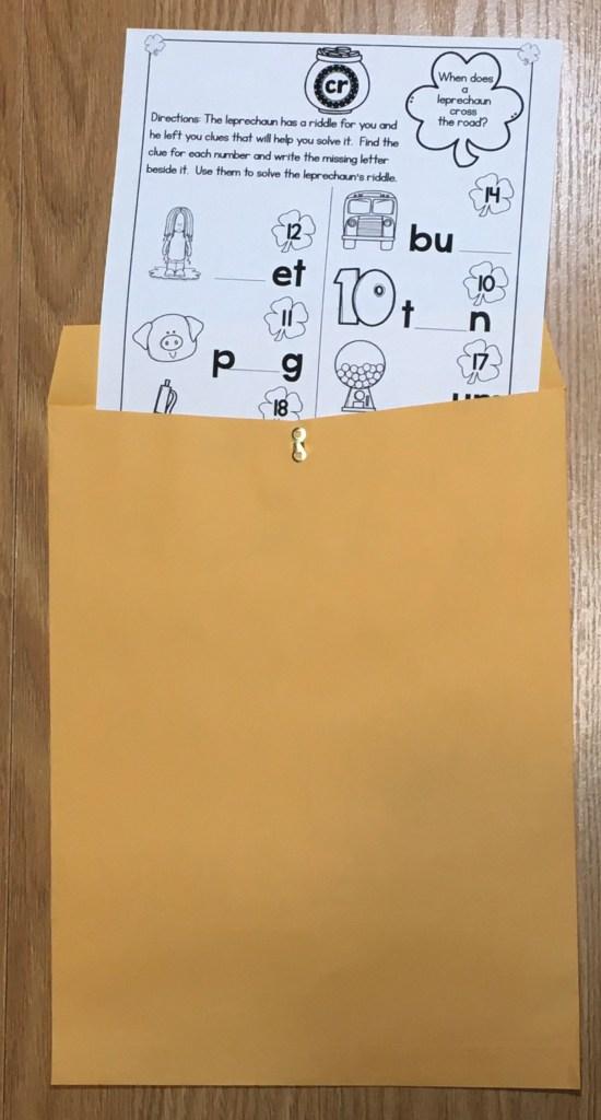 escape room clue for kindergarten