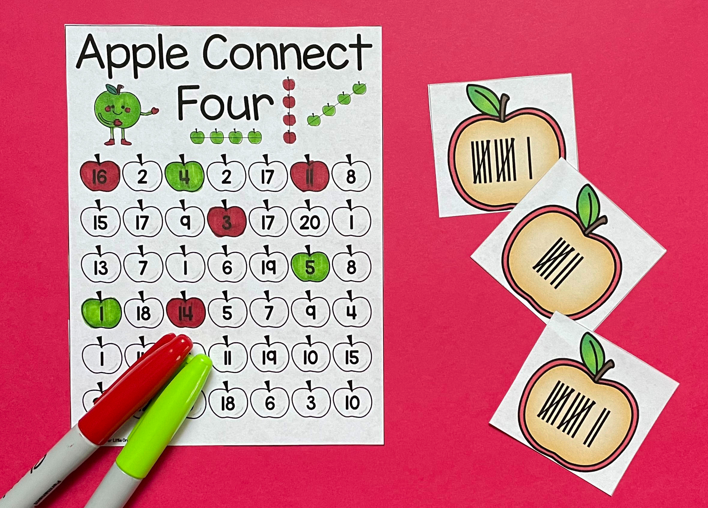 apple math game differentiated Connect 4