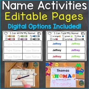 name activities editable print digital