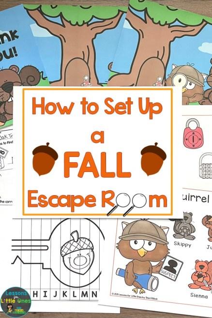 How to Set Up a Fall Escape Room Kindergarten First Grade