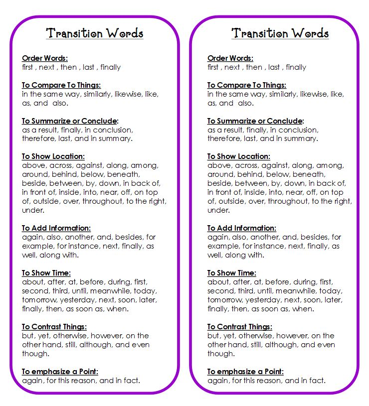 transition words in an essay