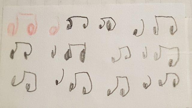 notes de musique écrites par un enfant