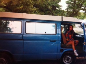 The van:) Notice my fashionable early 90s plaid flannel in the heat of a Texas summer!