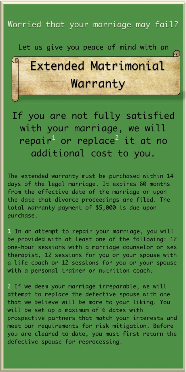marriage warranty