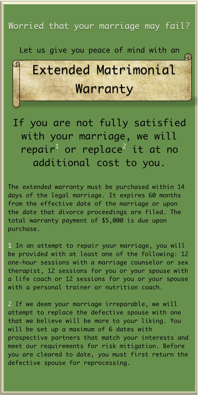 marriage warranty