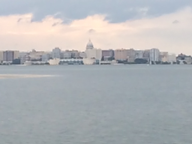 I neglected to capture any photos of the ubiquitous daylilies, but here's an amazing view of downtown Madison from Lake Menona:)