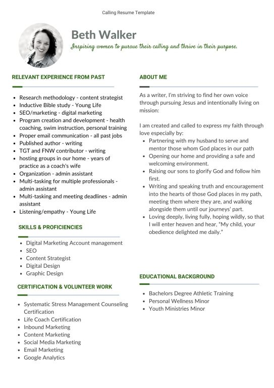 calling resume template example