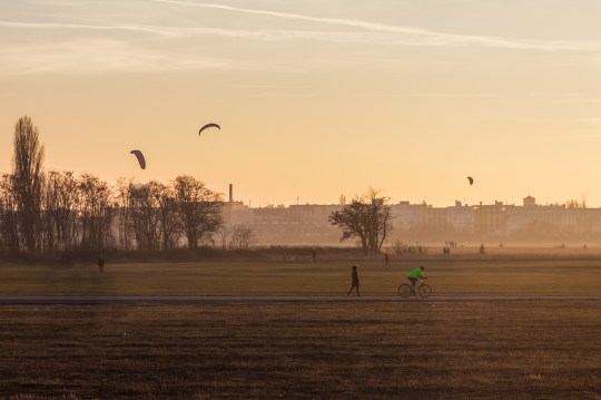 Kite flying at Tempelhof Airfield in Berlin, Germany